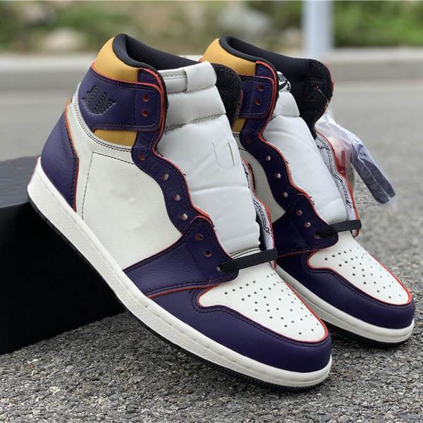 SB x Defiant 1 Баскетбольная обувь Фиолетовый Желтый Дизайнер Натуральная кожа Мужская 2019 Спортивные кроссовки Спортивные кроссовки