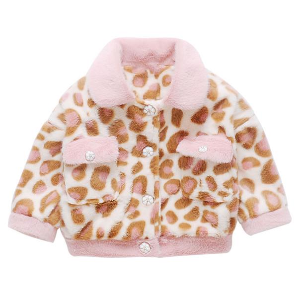 여자 겨울 코트 아이 표범 벨벳 두꺼운 재킷 아기 소녀 패션 어린이 옷깃 칼라 물 벨벳 코트 겉옷
