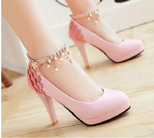 2019 Women's shoes in Spring and Autumn with New style High heel fine heel round head waterproof table @182