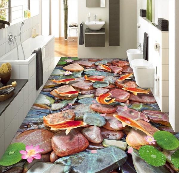 WDBH 3d pvc flooring custom photo Fish lotus flower stone Self-adhesive floor wall sticker 3d wall murals wallpaper for living room
