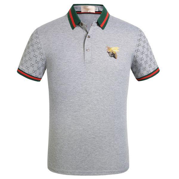 Sıcak marka giyim erkekler kumaş çizgili polo nakış arı t-shirt turn-down yaka rahat erkekler tişört tee gömlek