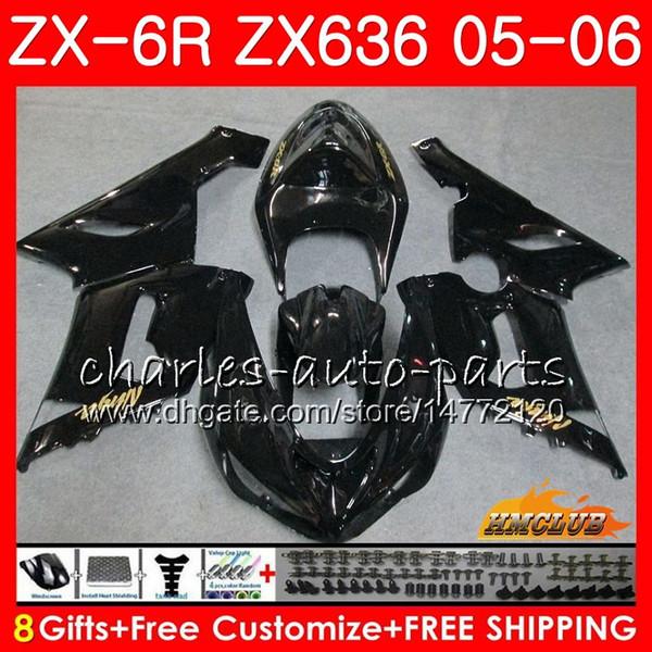 Karosserie Für KAWASAKI NINJA ZX-636 ZX 6R 600CC ZX-6R 05 06 35NO.118 ZX636 ZX 636 600 vollschwarz ZX600 ZX 6R 2005 2006 ZX6R 05 06 ABS Verkleidung