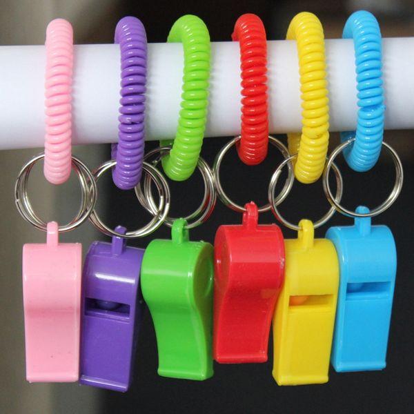 Fischio anello chiave di Keychain di sopravvivenza di emergenza di campeggio Alpinismo Portachiavi Bracciale a spirale elastica bobina di plastica LJJK2022 fischio