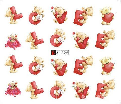 Nail Sticker Eau Stickers Cute Bear Love Letter Nails Curseur Art design Décoration Tatouage Manucure Feuille Adhésif Wraps Pegatinas