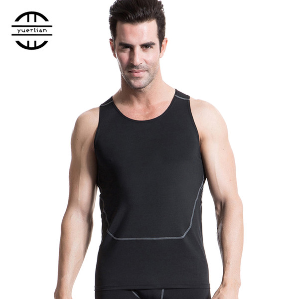 2019 New High Elastic Quickly Dry Sports Tank Top Training Sleeveless Tights T Shirt Men Workout Fitness Gym Running Vest