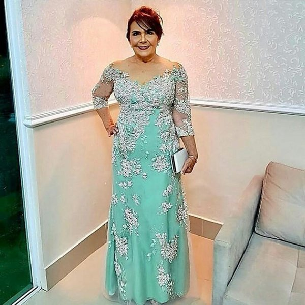 Plus Size Prom Mother Of The Bride Evening Dresses Long Sleeve Vestidos  Elegantes Mother Of The Bride Dresses Melbourne Mother Of The Bride Dresses  ...