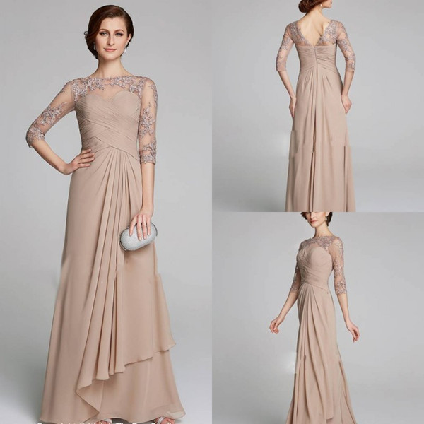 Modest Champagne Mother Of The Bride Dresses Plus Size Ruched Lace Applique  A Line Chiffon Wedding Guests Dress Mothers Formal Gowns Mother Groom ...
