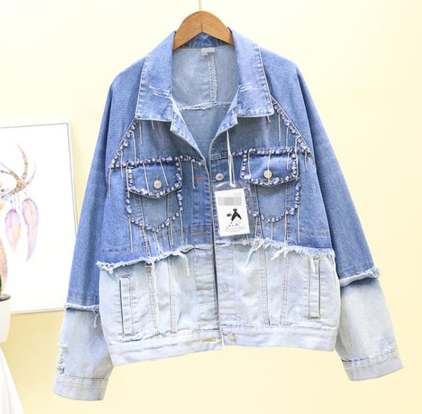 2019 Spring Fall Harajuku Short Denim Jacket Coat Women Funny Color Patch Jeans Jackets Student Loose BF Wind Basic