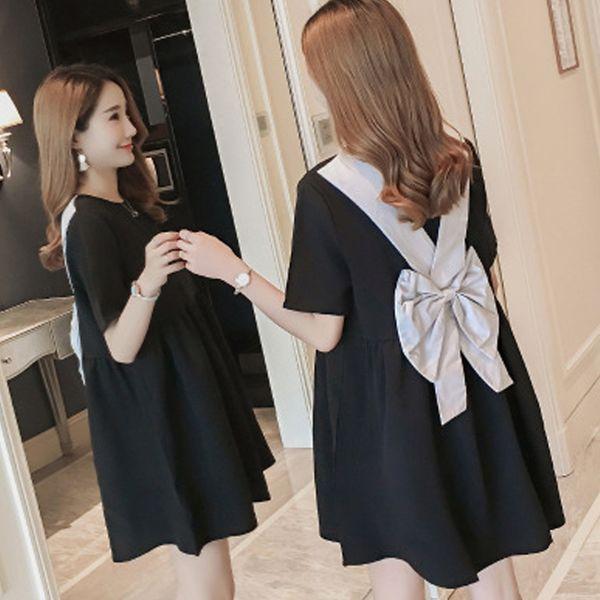 3e5a29e4f Summer Stylish Doll Pregnant Women New Back Bow Lovely Backless Dress Short-sleeved  Little Black