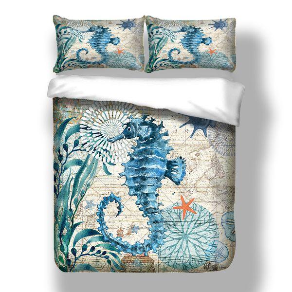 Populares animales del océano Juego de cama Individual Doble King Size con caballito de mar Juego de funda de edredón para niños con funda de almohada Colchas