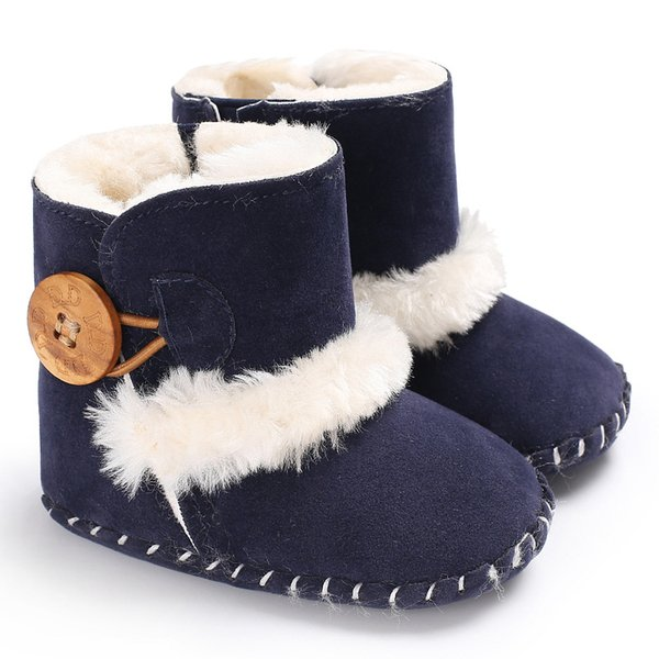 Non-slip New Winter Genuine Leather Baby Shoes Boots Infants Warm Shoes Fur Wool Girls Baby Booties Sheepskin Boy Boots