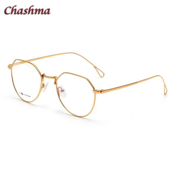 Fashion Women Titanium Light Glass Round Vintage Myopia Spectacles Men Gold Color Clear Lenses Prescription Glasses Frame