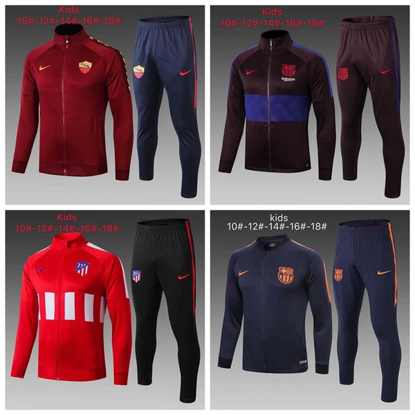 best selling 19 20 kids jackets Inter Milan Atletico Madrid Real Madrid Barcelona Bayern Soccer tracksuitFootball jacket kit Training suit