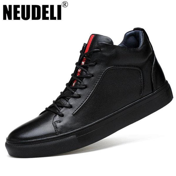 Wholesale-NEUDELI Big size 37-47 winter men boots Euro fashion genuine leather shoes thick fur warm male ankle snow boots
