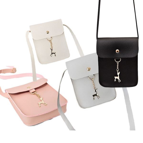 Cheap High Quality Ladies Girls Solid Color Casual Coin Phone Shoulder Bags Women Female Mini Messenger Bag With Deer Toy Handbag FBE3