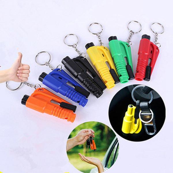 best selling 3 in 1 Emergency Mini Safety Hammer Car Window Glass Breaker Seat Belt Cutter Rescue Hammer Car Life-saving Keychain Hand Tools ZZA1146