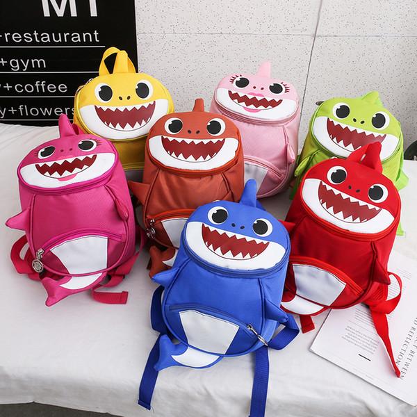 Baby Shark Mochila Niños Anti Perdidas Mochilas de Dibujos Animados Estudiante Bolsas Escolares 3D Bolsa de Almacenamiento de Viaje Bolsa de Hombro Kinder Animal GGA2058