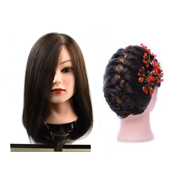 """100% Human Hair Mannequin Head 18"""" Blonde Great Quality Natural Black Color Hair Hairdressing Dolls Head For Beauty"""