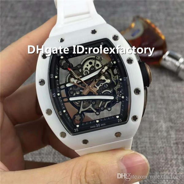 New Luxury 61-01 Watch Very long Power reserve Automatic Skeleton Sapphire Ceramic Case Rubber strap transparent case back Mens Watch