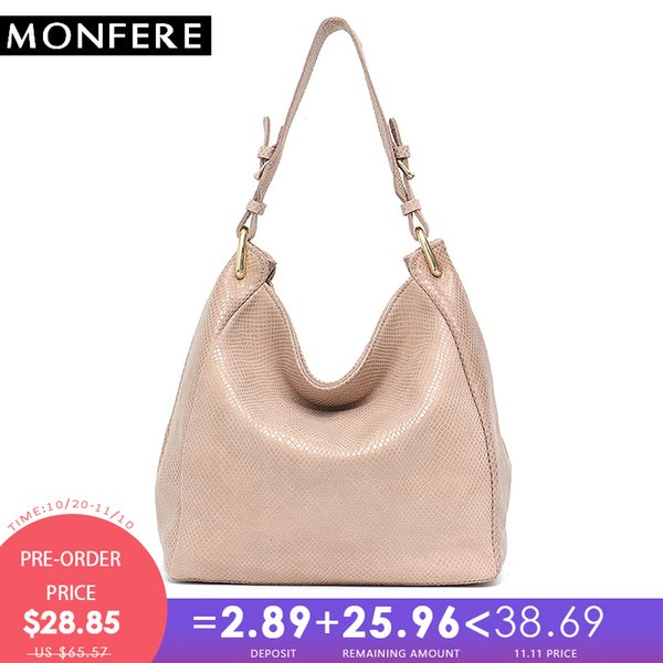 2019 Fashion MONFERE Leather Bag Women Shoulder Bag Snake Print Hobo Bags Female High Quality Leather Large Soft Girl Messenger Bags Handbag