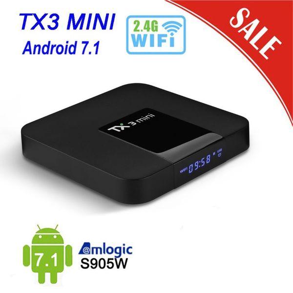 Tanix mini Android 7.1 TV Box Smart TV Box 1GB di RAM + 8GB ROM Amlogic S905W Set Top Box H.265 4K 2.4G WiFi Media Player TX3mini Box BA