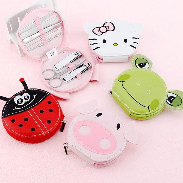 Cute Animals Manicure Nail kit Art Manicure Set Nail Clipper Eyebrow Scissor Cliper Ear Spoon Double-headed Dead Skin Nipper Kit Pig