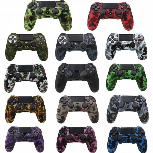 best selling Durable Camouflage Camo Silicone Gel Rubber Soft sleeve Skin Grip Cover Case For Playstatio PS4 Pro PS4 Slim Gamepad Protect