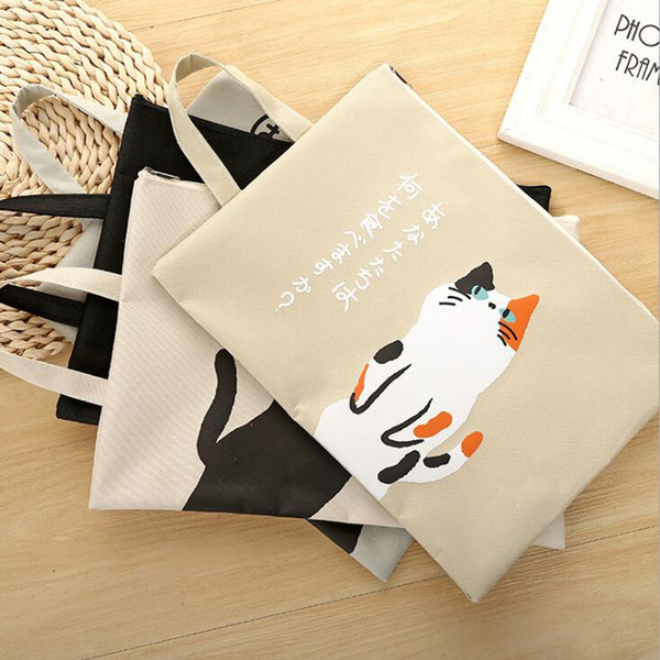 A4 Document Bag Cat Folder Bag Cute Kawaii Large Capacity Oxford Cloth Documents Folder Gifts For Students Y0081