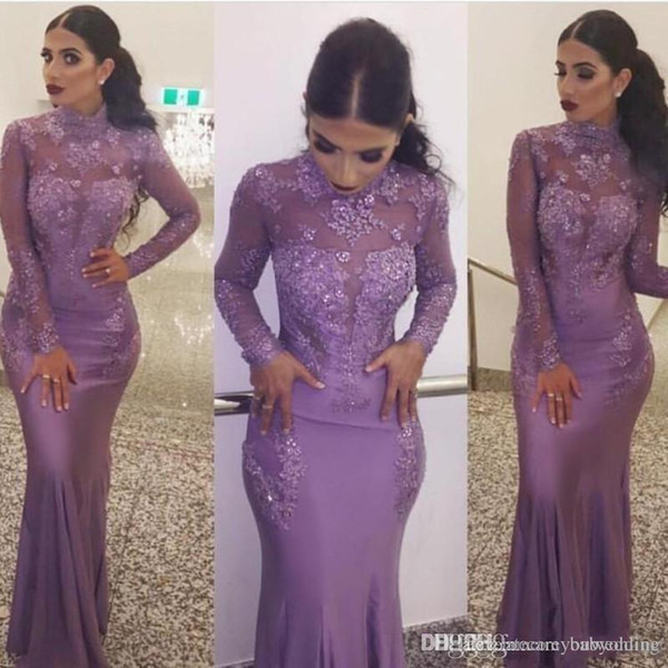 Lila Perlen 2019 Neue Meerjungfrau Abendkleider Jewel Neck Long Sleeves Spitze Applique Red Carpet Runway Appliques Kleider Abend Party Wear