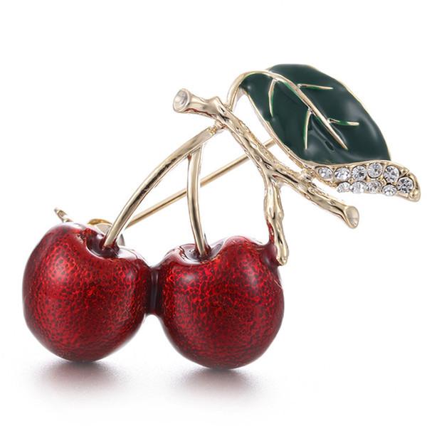 Erstaunliche Gold Farbe Legierung Rote Kirsche Brosche Atemberaubende Klar Emaille Obst Brosche Frauen Schal Corsage Revers Pin