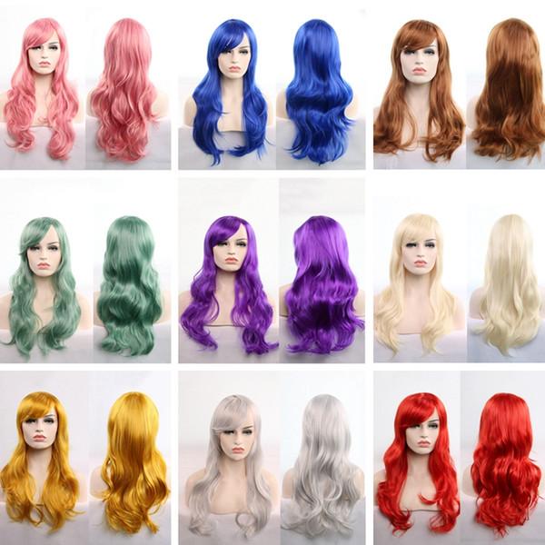 Parrucca lunga ondulata Cosplay Rosso Verde Viola Rosa Nero Blu Trama Bionda Marrone 70 Cm Parrucche sintetiche per capelli