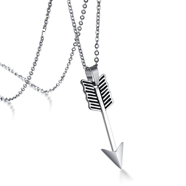 Silber Farbe Mode Für Männer Edelstahl Pfeil Anhänger Halskette Gliederkette Halskette Schmuck Geschenk für Männer Jungen J852