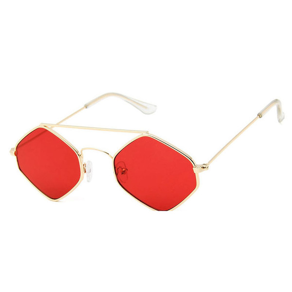 Top small oval square polygon sunglasses men and women metal frame eyes double beam yellow red retro trumpet popular round female sunglasses