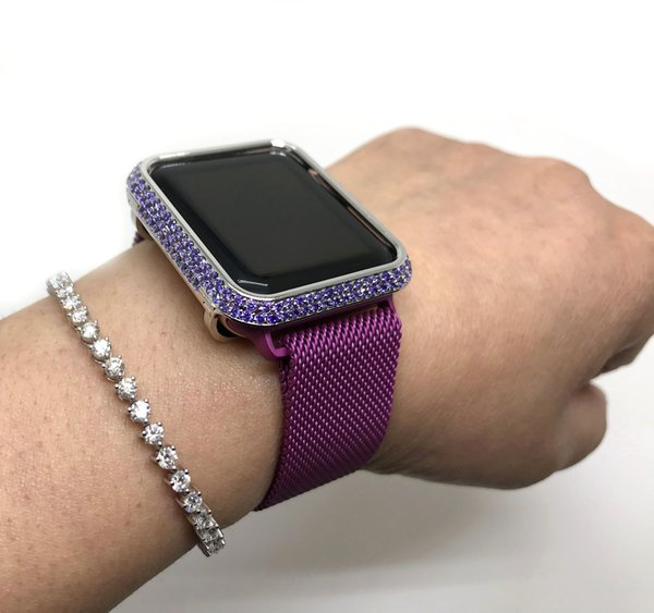 Bling-bling Diamond Metal Bezel Case + Milanese Watch Band for Apple Watch iWatch S1/S2/S3 for the smaller Size 38MM (Purple Diamond Set)