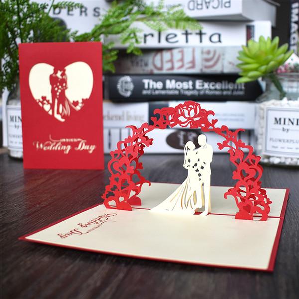 Cartão do dia de aniversário romântico do amor dos namorados do chá de panela 3D Pop UP Cartões Casado Laser cortar convite do casamento Cartões