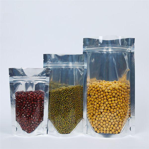 100 Pcs Stand up Limpar Folha De Alumínio Zip Bloqueio Saco De Embalagem De Embalagem De Plástico Metálico Prateado para Alimentos Chá Doces Do Bolinho De Cozimento