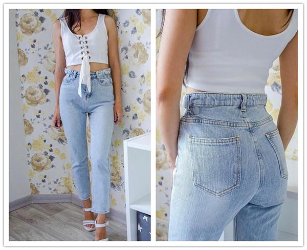 Vintage Chic Boyfriends Harem Jeans Femme Taille Plus élastique taille haute Refroidir Denim Pantalon Pantalon Chic Maman lâche Jean Pantalons Retro