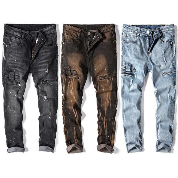 Mens Biker Jeans Bolso Zipper Hole Jeans Reta High Street Mens Estiramento Calças Slim Tinta Splash
