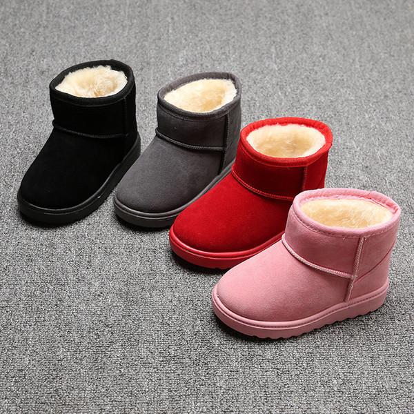 Zapatos infantiles para bebés 2019 Más nuevos niños de invierno Botas para la nieve Niños impermeables Botas de gamuza sin cordones Niños Chicas Invierno Espesar Mantener cálidas botas de algodón