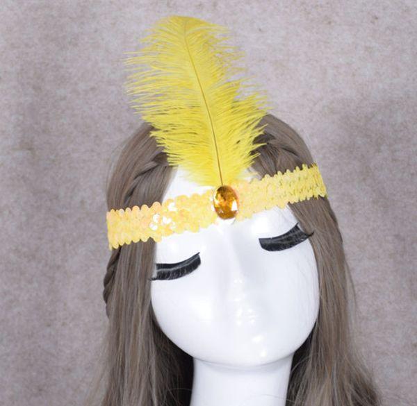 2019 эластичный Индийский косплей цветные перья головной убор оголовье карнавальный костюм/вождь головной убор/страуса волос группа аксессуар