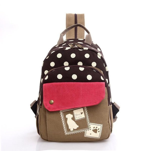 Wholetide- Cheryldili New Casual Woman Backpack Fashion Lady Backpack School Bag Polka Dot College Wind Female Backpack For Girl 55zs