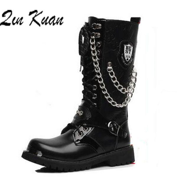 38-45 Tamaño de alta calidad de invierno Vintage High Western Boots Men's Black Motorcycle Winter Boots para hombres Brown Punk hombre Boot