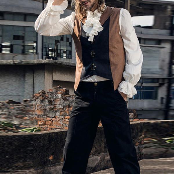 Men Ruffled Shirt Blouses Man Drama Costumes Shirts Camisa Hombre Medieval White Tuxedo Shirt Long Sleeve Middeleeuwse Blouse Y190506