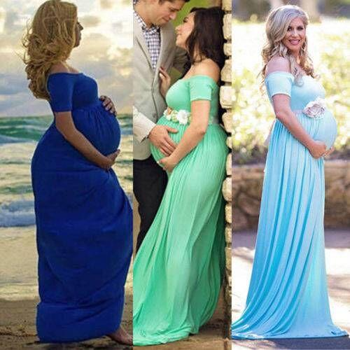 Mutterschaft langes Kleid Sommer weg von der Schulter Maxi-Kleid Schwangerschaft Frauen Kleid für schwangere Fotografie Prop nach Hause lässige Kleidung FFA1670