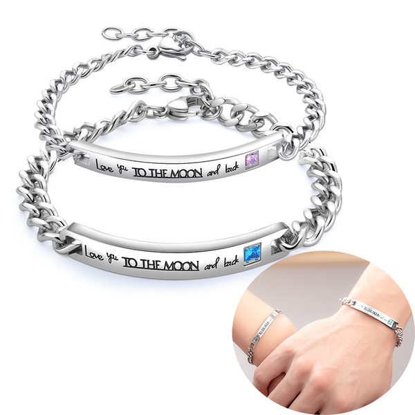 "stainless steel couples bracelets ""i love you to the moon and back"" rhinestone chain cuff bangle charm bracelet jewelry lovers gifts"