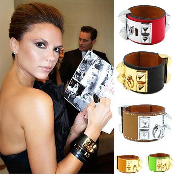 CDC big rivet wide leather bracelet Best selling punk wind Kelly leather bracelet plain bangle luxury