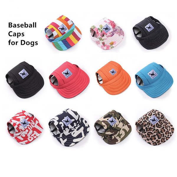 Dog Pet Baseball Cap Dogs Sport Hat Visor Cap with Ear Holes and Chin Strap for Dogs and Cats 2 Sizes 10 Colors
