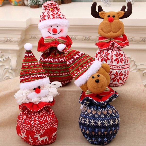 Decoração de natal Papai Noel Boneco de Neve Veado Urso Natal Maçã Sacos Cartton Vermelho Ano Novo Festival Decoração de Presente
