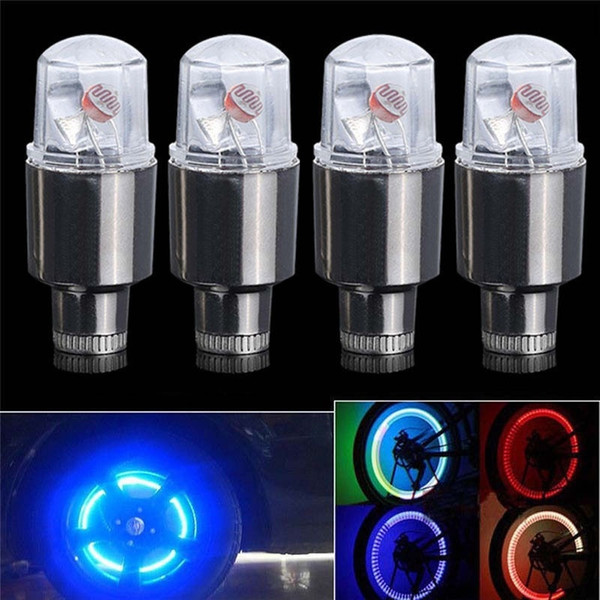 4adet Sıcak Motor Araba Motosiklet Jant Lastik Lastik Vana kapağı Flaş LED lambası Neon Strobe LED Lastik Vana Renkli Işık Caps konuştu