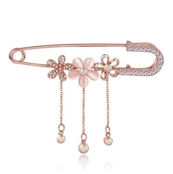 Rose Golden Tassel Crystal Flower Brooch Pin Dress Rhinestone Decoration Buckle Pin Jewelry Brooches For Men Women
